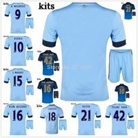 14/15 TOURE YAYA KUN AGUERO home away soccer jersey + Shorts kits, SILVA 2015 best quality football uniforms