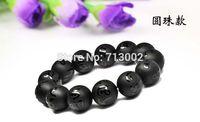 14MM Evil mantra matte black onyx beads bracelet