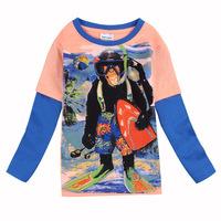 Free Shipping 2014 New Design T-Shirts Cartoon Boys Clothes Long Sleeve ChildrenO-Neck Shirt Clothing Cotton T Shirt