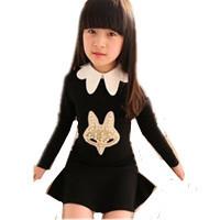 2014 New Girls Dress Spring Autumn Children's Clothing Sweet Falbala Long Sleeve 2 Colors Dot Dresses  Free Shipping FF019