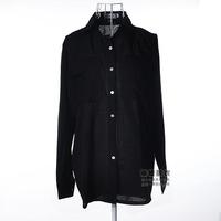 2014 new women's autumn lapel chiffon shirt Plus Size temperament shirt pocket chiffon shirt shirt