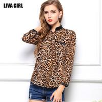 2014 new blusas femininas 2014 star pattern large size women's long-sleeved shirt leopard chiffon shirt blouses