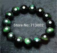 Lucky evil eye all green natural Mexican rainbow obsidian beads bracelet  14MM
