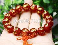Natural Bronzing Red agate beads bracelet mantra