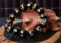 Natural Bronzing black agate beads bracelet mantra