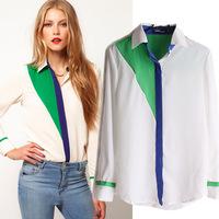 blusas femininas 2014 big new winter chiffon shirt mixed colors hit the color code lapel long-sleeved chiffon shirt chiffon shir