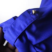 2014 new blusas femininas 2014 V-neck long-sleeved chiffon beaded epaulettes loose blouse shirt Plus Size