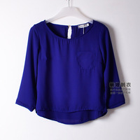 Autumn Korean Women round neck bottoming double stitching loose chiffon shirt pocket sleeve chiffon T shirt