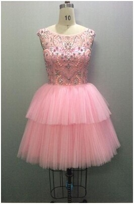Real Picture Custom Made Dress Short Cocktail Dresses 2015 Pink Tulle Crystal Beaded Woman Party Clothing High Neck Special(China (Mainland))