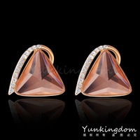 Easy Designs Orange shine 18K Rose Gold Filled Blue Drop Earrings Triangle Classic Party show Lady Women Jewelry PM0205