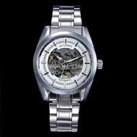 2014 New Luxury Fashion Casual Stainless Steel Men Mechanical Watch Skeleton Watch For Men Dress Wristwatch