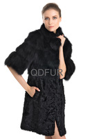 Women Fashion Genuine Real Fox Fur Coats Jackets Lamb Fur Half Sleeve Winter Ladies Fur Long Outerwear Parka 22111