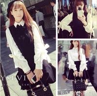 * Panda * Bow lantern sleeve white long-sleeved shirt loose fresh female Korean autumn