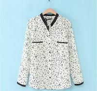 2014 fall new blusas femininas 2014 stars chiffon cardigan chiffon shirt Plus Size long sleeve collar shirt printing casual