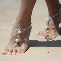 1pc Crystal Beads Tassel Anklet For Women Tornozeleira Femininas Barefoot Sandals Ankle Bracelet