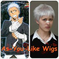 Sasagawa Ryohei Hitman Reborn Short Gray Anime Party Men Cosplay Wig Costume Halloween party +hairnet gift Free ship