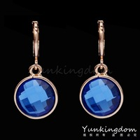 Easy Designs Orange shine 18K Rose Gold Filled Round Blue Drop Earrings Square Classic Party show Lady Women Jewelry PM0208