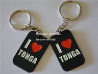 I Love TONGA Dog Tag Keychain, Silicon Dog Tag Key Ring, Promotio Gift, Custom Design are Welcome, 50pcs/Lot, Free Shipping