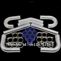 "Free Custom Logo Wholesale 2.5"" OD 500mm Long with 180 Degree J Pipes Universal Aluminum Mandrel Bent Intercooler Piping Kit"