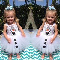 Freeshipping  New Arrival Frozen Olaf  Dress Summer Girls Cute White Princess Dress SleevelessCondole Belt TUTU Dress for  Party