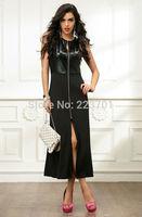 New Arrival Fashion Front Zipper Long Dress Slim Vintage Split  Party Dresses