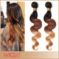 Hot Ombre Color Brazilian Remy Human Hair Weave 3pcs/Lot Body Wavy Weft #1b/33b27 Three Tone Color 12''-30'' Wigiss H6047AZ