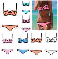 2014 Fashion Women Sexy Bikini With Rims Triangle Bra Neoprene Bikini Women's Hot Swimsuits Ladies Swimwear Beachwear Bikini Set