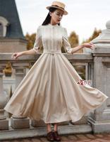 Wholesale vintage casual winter lace dresses women 2014 autumn maxi long party dress evening work wear apricot