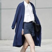 2014 Blazer Feminino Leisure Long Suit Women Coat Blaser Casual Winter Jacket Conjuntos Trench vestido Black Blue Business Suits