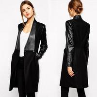 Free shipping 2014 autumn new PU leather sleeve long woolen coat jacket women