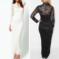 new 2014 early autumn Europe fashion sexy women casual dress V-neck Fishtail hollow lace nightclub plus size XXL dresses fw-500