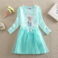 2014 Autumn Girls Dress Frozen Dress Anna & Elsa Princes Dress Long Sleeve Blue Color Lace Clothes for Kids Freeshipping FZA035