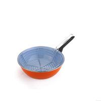 Large Handle No Cover Pan French Fries Pan Non-corrosive Enamel Frying Pan Cooker Pan Nonstick