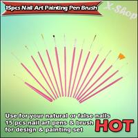 X-SHOP 15pcs Nail Art Painting Pen Brush(Pink)