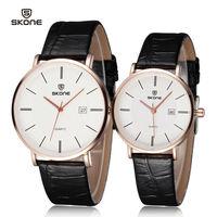 Drop 2014 New Lovers' Wristwatches Famous Brand SKONE Men/Women Genuine leather Dress watch Casual Original Japan Quartz Clock