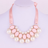 302#Europe and the United States all-match star elegant pearl ribbon necklace.