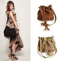 HOT Faux Suede Fringe Tassel Shoulder Bag,Vintage Drawstring Womens Bucket Handbags Messenger Bag 40002 075H bolsas femininas
