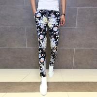 pants 2014 new floral print pants men autumn winter New long trousers quality fall flowers tide male Korean Slim elastic stretch