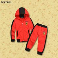 Wholesale  Brand  2014  New  fashion spring/autumn  children's  suit   blouse+pants  long  sleeve  hooded  patchwork  boy's suit