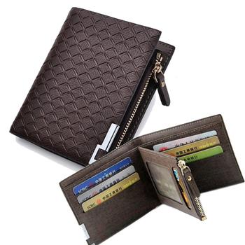 Новый мужской кожаный бумажник короткая молния карты держатель мужчины монета изменить ...