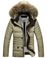 Free Shipping  2014 new high quality fall and winter Men's hooded 90 white duck down jacket ,  6 color M- XXL