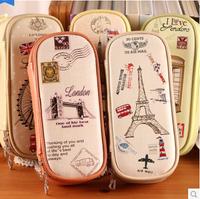 LZ 2014 new sales promotion girls pu pencil case European style pairs telephone booth bridge ferris wheel triumphal arch pen bag
