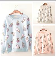 Newest style 2014 autumn hoodies Cartoon rabbit printing long sleeve women's fleece 3 colors sweatshirt free shipping