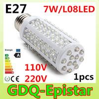 Free shipping 1pcs E27 E14 B22 7W SMD3528 108LED 110V/220V high power LED Corn light Warm/Cool White
