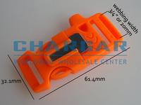 "(14pcs) 3/4"" Plastic Side Release Buckles w Survial Whistle & Magnesium Flint Fire Starter for 550 Paracord Bracelet Gear Orange"