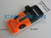 "(14pcs) 3/4"" Plastic Side Release Buckles w Survial Whistle & Magnesium Flint Fire Starter for 550 Paracord Bracelet Gear BK/ORG"