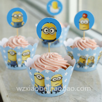 Lovely Minions Despicable Me Movie cupcake toppers picks decoration kids birthday party favors supplies(12 toppers+12 wrappers)
