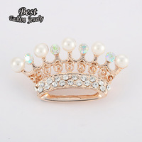 2014 Korean Fashion Exquisite Vintage Synthetic Diamond Crown Brooch Collar Girl Gift XZ037