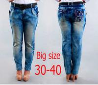 2014 Autumn winter Fat women cotton denim jeans Plus size skinny pencil pants large size slim long trousers free shipping!