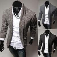2014 New Hot simple Warm Winter Autumn cardigan sweater jacket Men Slim V-neck regular sweater Tops